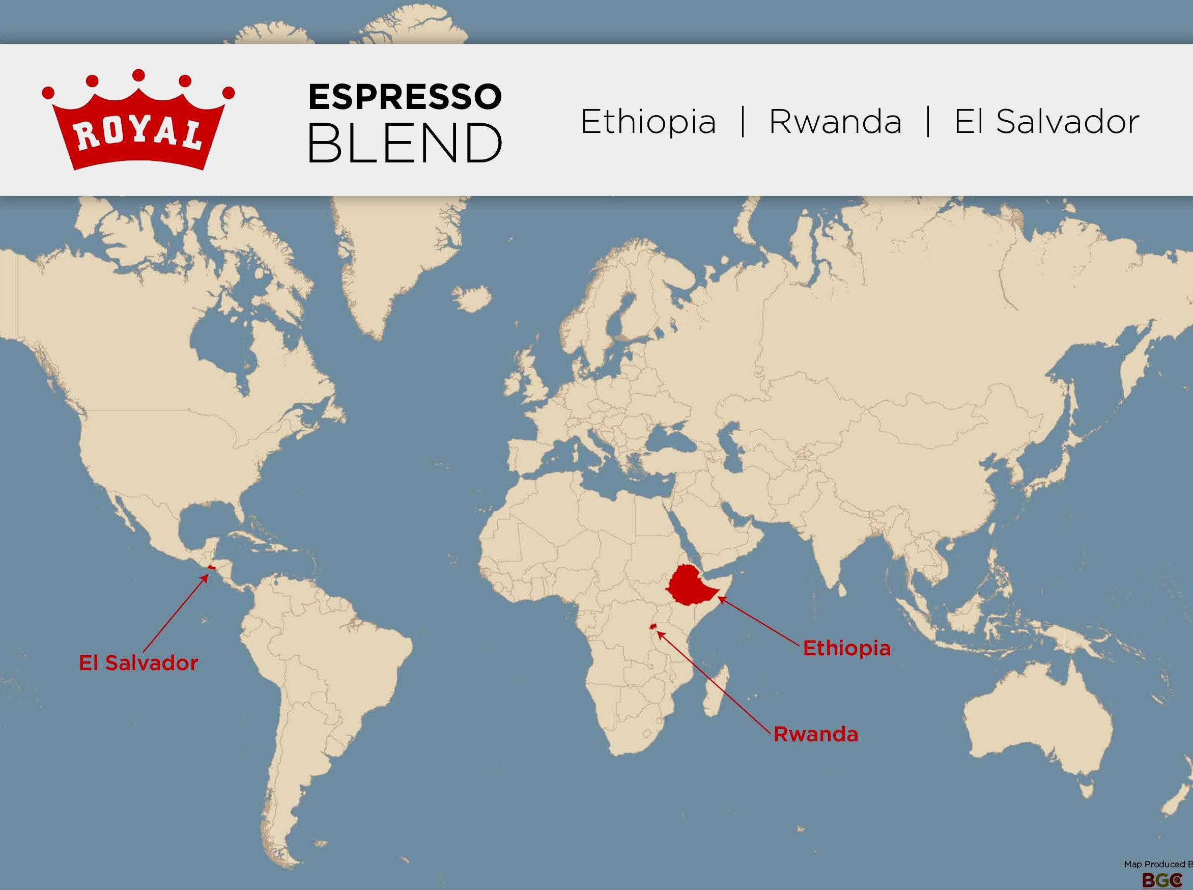 Picture of: Espresso Blend Map Ethiopia Rwanda El Salvador Royal Coffee