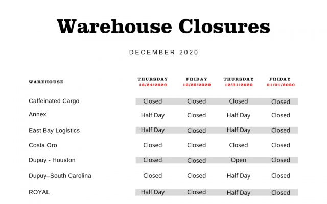 warehouse and carriers schedule