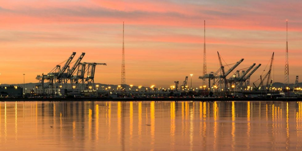 Cranes in the sunset at the port of Oakland